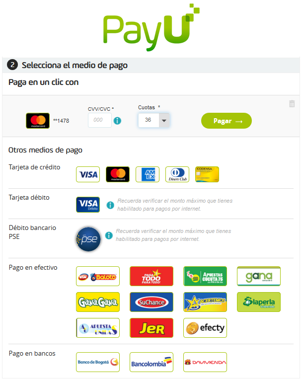 Tu Marketing Bogotá - PayU payment methods popup