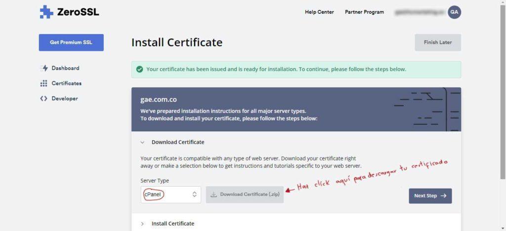 Tu Marketing Bogotá - Cómo obtener un certificado SSL gratis para tu hosting en GoDaddy 17.3