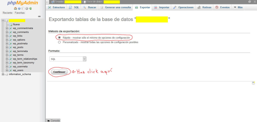 Tu Marketing Bogotá - phpMyAdmin cPanel 4