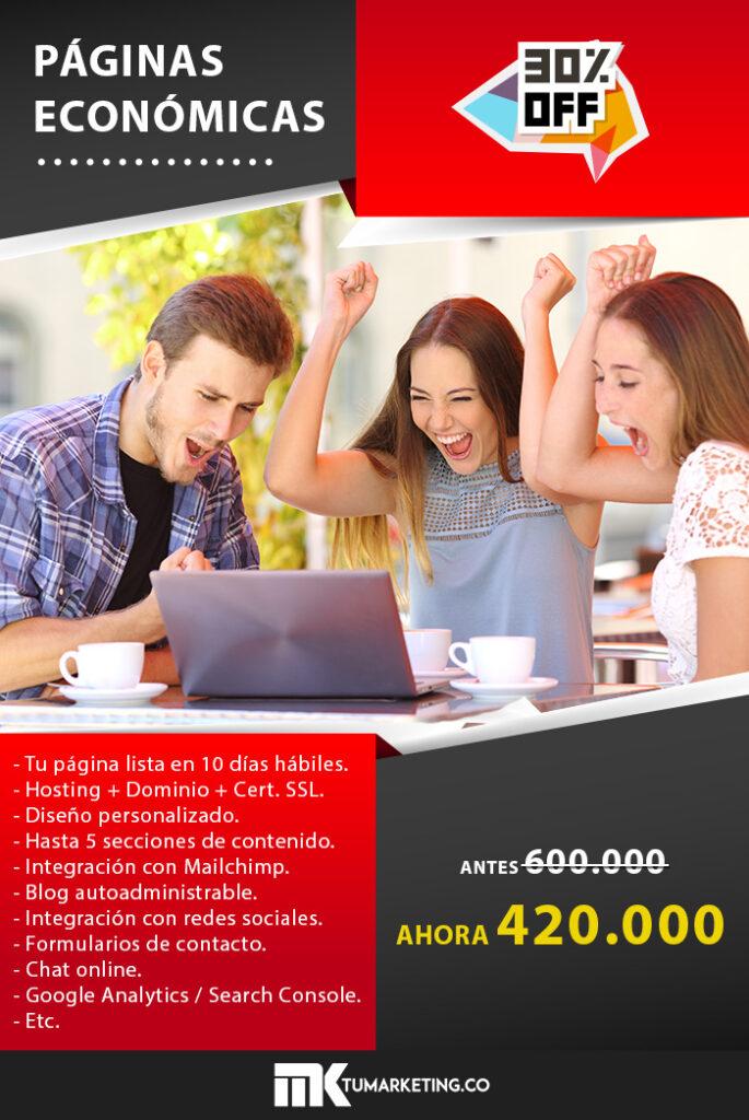 Tu Marketing Bogotá - Páginas web económicas 30off